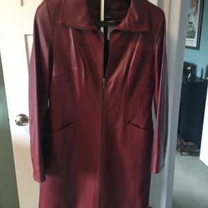 NWT Danier Leather coat- Burgundy